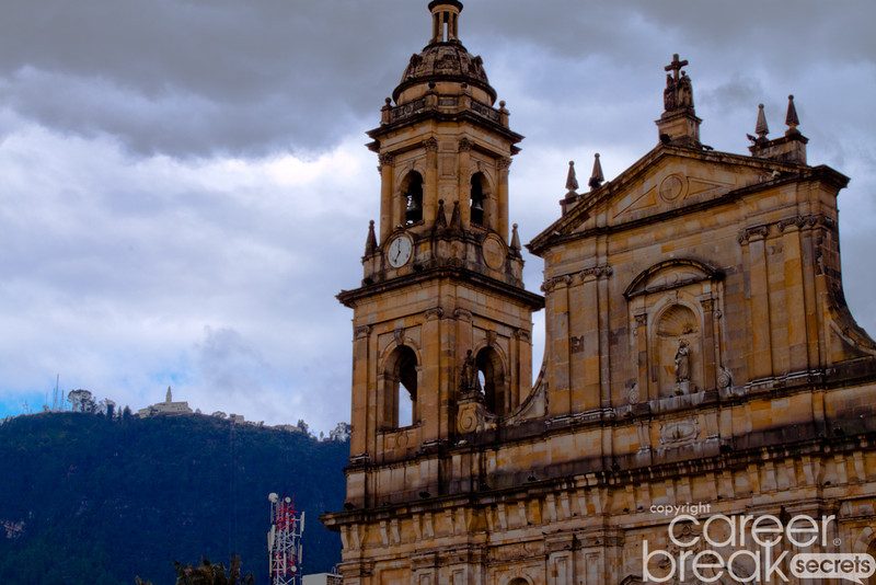 career break travel adventures in Colombia, Bogota, Plaza Bloivar, Monserrate