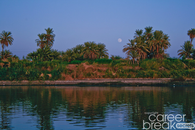 career break travel adventures in Egypt, Nile river, full moon