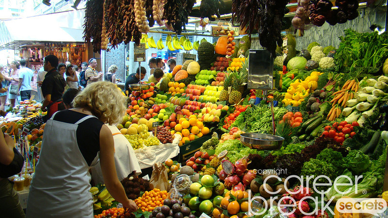 barcelona market, la boqueria market, career break travel adventures in Spain