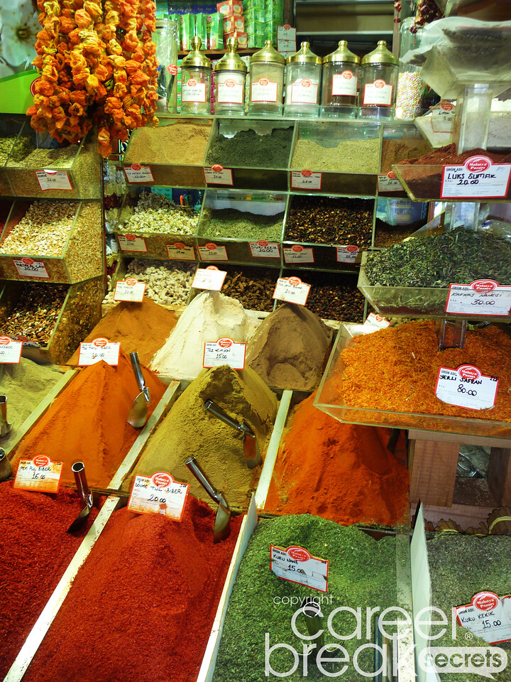 istanbul spice market, career break travel adventures in turkey