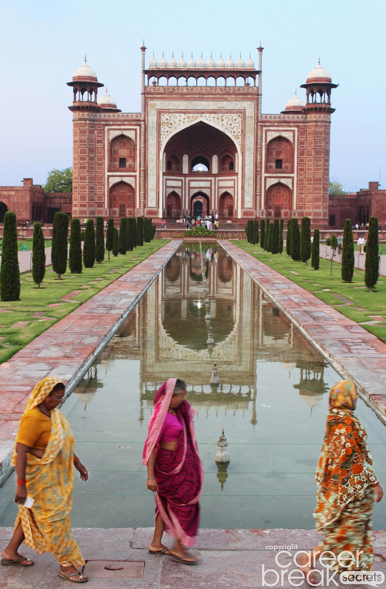 Taj mahal entrance, india travel, career break travel in India