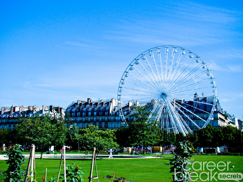 career break travel adventures in France, Paris ferris wheel