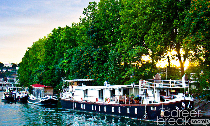 career break travel adventures in France, houseboats on Seine river, Paris