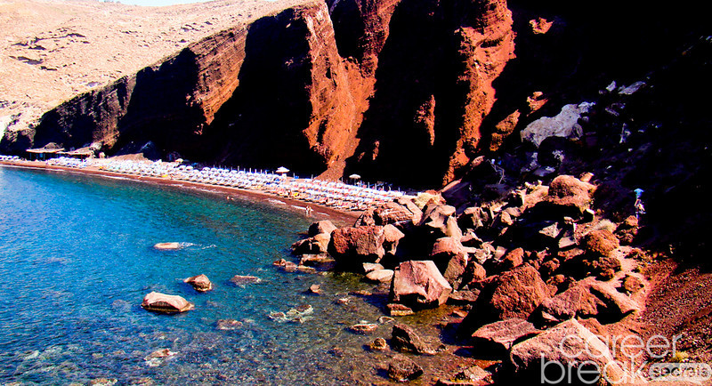 career break travel adventures in greece, Santorini, red beach