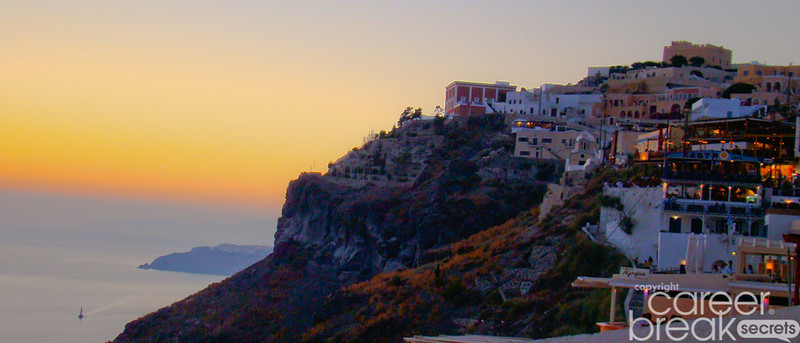 career break travel adventures in Greece, Santorini, Akrotiri