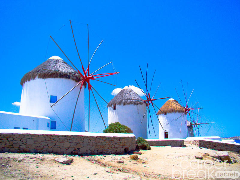 career break travel adventures in Greece, windmills in Mykonos