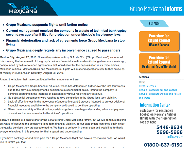 travel advice, mexicana airlines, mexicana refunds, world travel