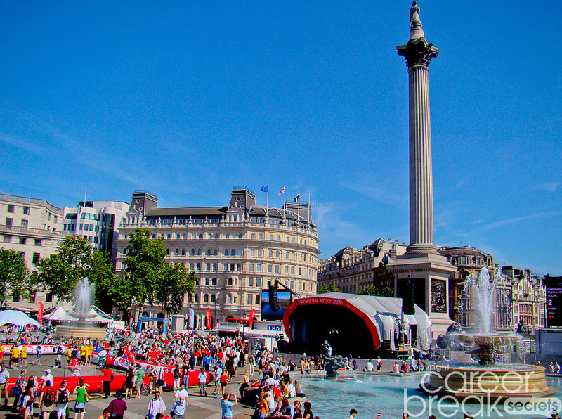 Trafalgar Square on Canada Day, career break travel adventures in London, career break travel adventures in England